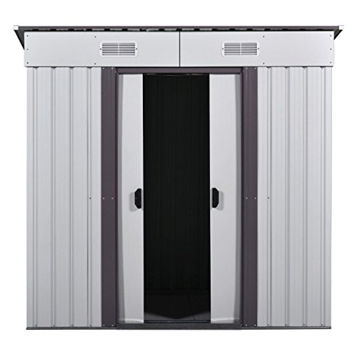 4' x 6' Outdoor Storage Shed Box Steel Utility Tool Backyard Garden Lawn Garage (Plans Coffee Outdoor Table)