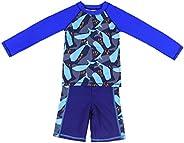Gogokids Boys Long Sleeved Swimsuit - Kids 2 Pieces Swimwear Swim T-Shirt and Trunks