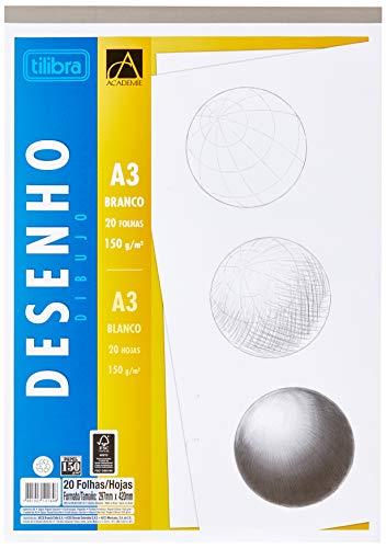 Caderno Colado Desenho A3, Tilibra, Académie, 20 Folhas