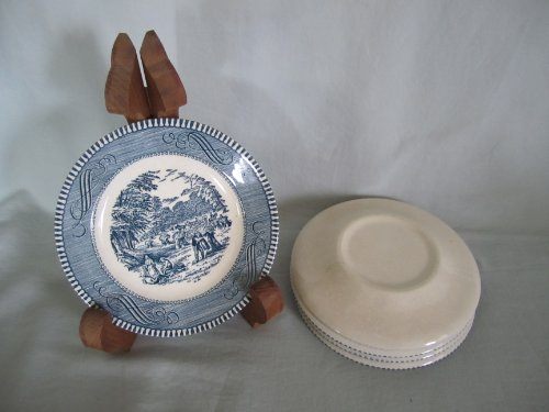 Ironstone Dessert - Set of 5 - Vintage Currier Ives Royal China Ironstone Blue Bread Dessert Plates 6 1/4