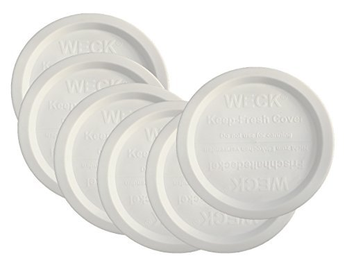 Weck Jar Keep Fresh Plastic Lids, 6 PACK (Large = 100mm). Fits Models 740, 741, 742, 743, 738, 739, 744, 745, 748, 974 by Weck