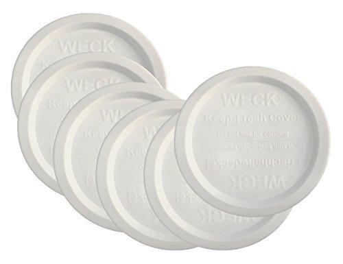 Weck Jar Keep Fresh Plastic Lids, 6 PACK (Large = 100mm). Fits Models 740, 741, 742, 743, 738, 739, 744, 745, 748, 974