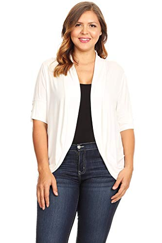 Bubble Draped - Bubble B Women's Plus Size Front Draped Collar Solid Cardigan White 1X