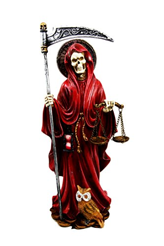 Ebros Gift 10.5 Tall Holy Death Santa Muerte with Scythe and Scales Day of The Dead Decorative Figurine Red