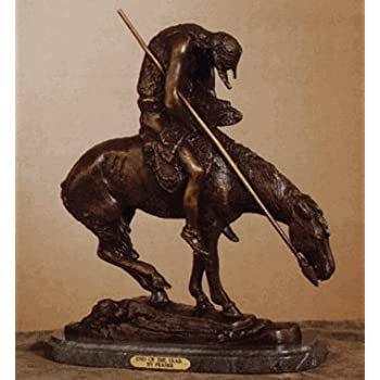 """End of the Trail"" Unique Handmade Solid Bronze Sculpture Statue By James Earl Fraser Baby Size"
