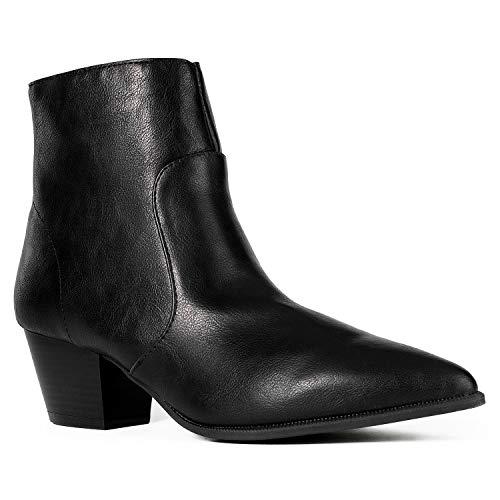 Women's Western Pointy Toe Low Chunky Heel Back Zip Slim Fit Ankle Booties Black ()