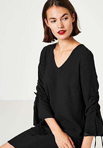 Kleid Gerafften Schnitt Ausgestellter Ärmeln mit Hallhuber Schwarz Linien A qInwES6F
