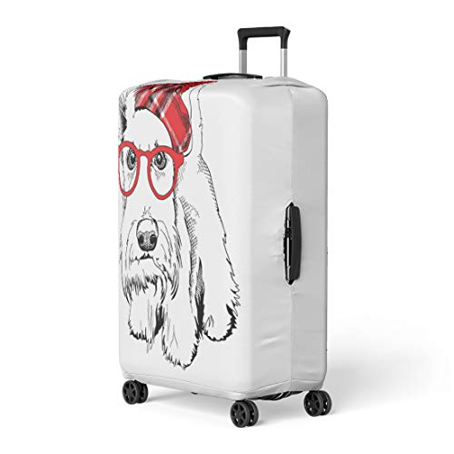- Pinbeam Luggage Cover Animal Scottish Terrier in Red Checkered Hat Pom Travel Suitcase Cover Protector Baggage Case Fits 26-28 inches