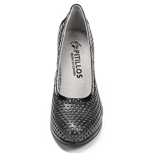 Zapato salón con tacón de 8 cm. - Pitillos 1650 Grafito Negro