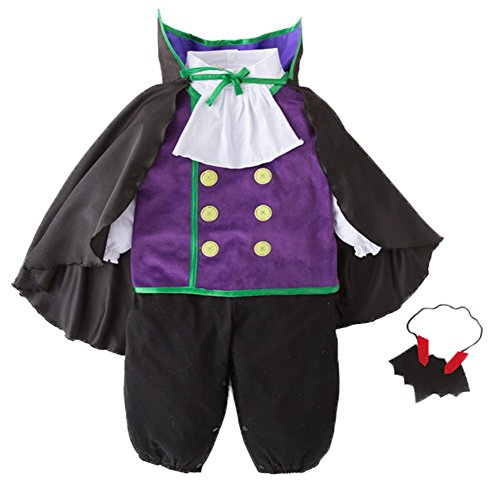 stylesilove Adorable Toddler Boys Vampire Romper Halloween Costume 4pcs Outfit (100/2-3 Years) Purple -
