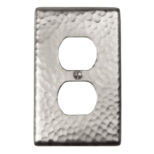 The Copper Factory CF122SN Solid Hammered Copper Single Duplex Receptacle Plate, Satin Nickel Finish by The Copper Factory