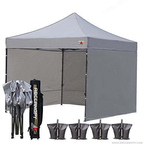 (18+ colors)AbcCanopy 8ft by 8ft Ez Pop up Canopy Tent Commercial Instant Gazebos with 4 Removable Sides and Roller Bag and 4x Weight Bag (gray)