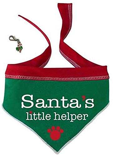 I See Spot Santa's Little Helper Doggie Paw Bandana Scarf with Candy Cane Charm - Dog Sizes S or L - (Large - fits Neck 15