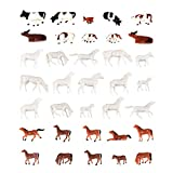 Iceyon 35PCS 1:87 Animals Figure Toys Set, Well Painted Animals Cows Horses Figures for HO Scale Model Train Scenery Layout Miniature Landscape