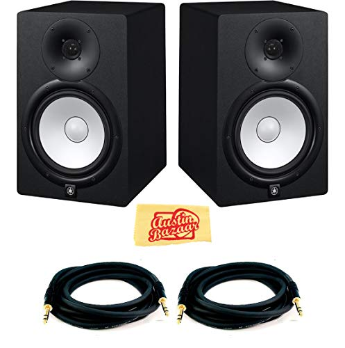(Yamaha HS8 Powered Studio Monitor Pair Bundle with Two Monitors, TRS Cables, and Austin Bazaar Polishing Cloth)