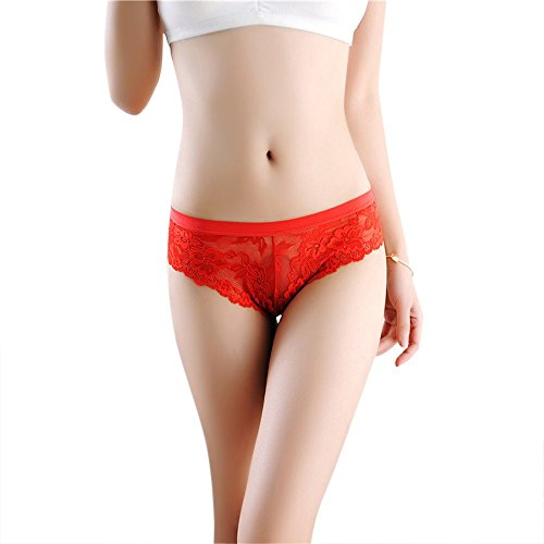 421e40cc14 Amazon.com  Willow S Women s Bow Lace Sexy Underwear Underwear Set Sexy  Temptation Perspective Panties (One Size