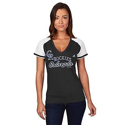 MLB Women's Winners Circle Short Sleeve V-Neck T-Shirt (Medium, Colorado Rockies)