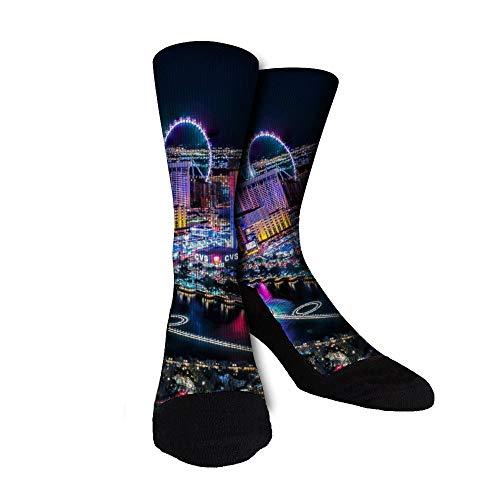 Las Vegas City Landscape Unisex Novelty Funny Dress Socks Crew Socks - For Men'S And Women'S Gift