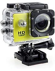 Actie Camera, HD 1080P Actie Camera Waterdichte Camera met 2.0 'scherm Onderwater Cam Waterdicht 30 M, voor Live Streaming Stabilisatie, Geel