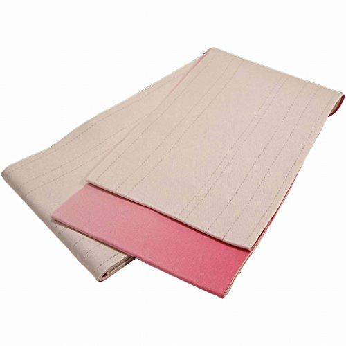 ピラミッド大人中間浴衣帯 グラデーションリバーシブル ラメ入り クリーム?ピンク 単衣 日本製
