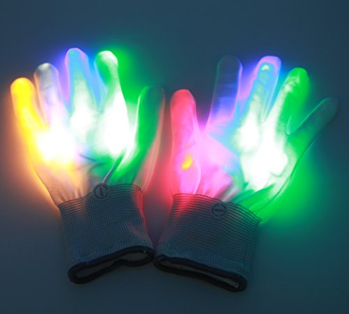 Passionier LED Light-up Rainbow Gloves Colorful Glowing Rave Flashing Light-emitting Gloves for Halloween Costume Christmas Dance Dubstep Party (Dance Party Costumes Ideas)
