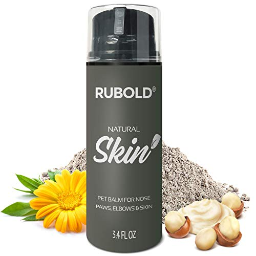 RUBOLD Natural Skin+ Dog Nose and Paw Balm - Gentle Soother and Protector for Dogs - Protection for Dry Skin, Paws, Snout and Wrinkle Without Greezy Wax - with Shea Butter, Bentonite and Calendula