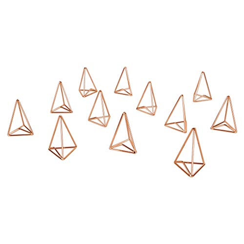 Contemporary Place Card Holders - Koyal Wholesale Modern Metal Geometric Triangle Wedding Place Card Holders, Set of 12 Rose Gold Table Number Holders for Wedding, Bridal Shower, Rehearsal Dinner, Thanksgiving, Christmas, Home Decor