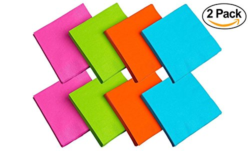 Party Essentials 2-Ply Paper Dinner Napkins, Assorted Neon Brights, 24-Count (Dinner -2 Pack)