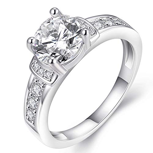 Women's Pretty 18K White Gold Plated Princess Cut  Wedding Bands TIVANI Collection Jewelry Rings,8