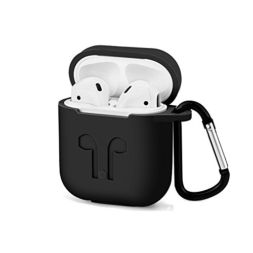 3in1 Non-Slip Silicone Case Cover Earphones Pouch Protective Skin Anti-Lost Wire Eartips Wireless Earphone Case for Apple AirPod-(Black) - Non Slip Protective Skin