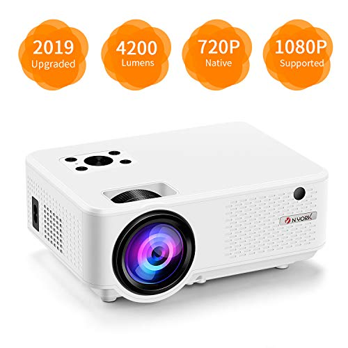 """Nyork Mini Projector, [2019 Upgraded] Portable Video Projector, 4200 Lumen Movie Projector 200"""" Display, Full HD 1080P Supported, 55,000 Hours Lamp Life, Compatible with Fire TV Stick,HDMI,VGA,AV,USB"""