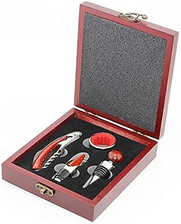 Caja de madera para vino, accesorios de regalo, juego de regalo, sacacorchos, abrebotellas, tapón vertedor de vino, anillo de 4 unidades