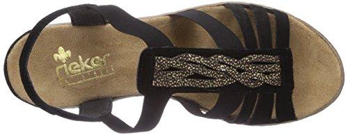 Rieker 62479 - Sandalias de vestir de cuero para mujer negro - Schwarz (schwarz/moro-gold / 01)