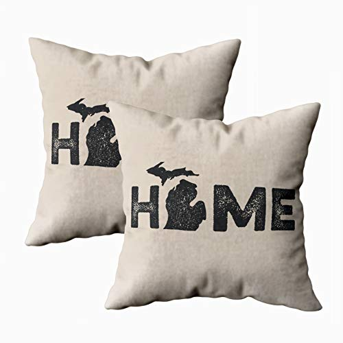 TOMKEY 2 Packs Hidden Zippered 18X18Inch Soft Home State Love case,Michigan Decorative Throw Cotton Pillow Case Cushion Cover for Home Decor
