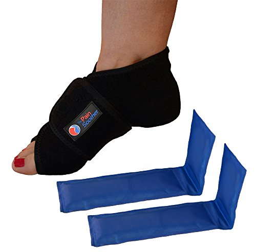 The Pain Soother Reusable Hot Foot & Cold Ice Pack Wrap for Plantar Fasciitis, Heel Spurs, Arch Pain, Sore Feet, Swelling - Extra Gel Pack Included - Support Back Elasto