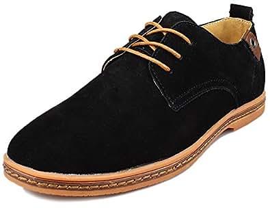 Kunsto Men's Classic Leather Oxfords Flats Shoes Lace Up US Size 7 Black