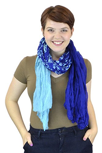 belle-donne-womens-fashion-ombre-watercolor-wash-crinkle-scarf-blue-aqua-leaf-design