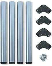 EMUCA - Patas de Mesa Regulables Ø60x710mm, Kit de 4 Patas de Acero, Altura Regulable 710-730mm, Acabado Gris Metalizado