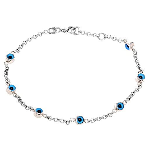 High Polish 14k White Gold Bracelet with Blue Evil Eye 8