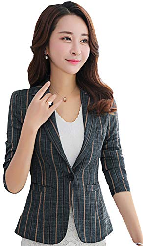 (My Wonderful World Women's Stripe Work Office Blazer OL Long Sleeve Business Blazers One Button Blue Stripe Jacket US 6)