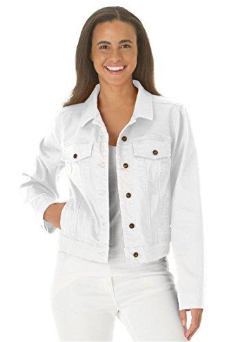 Women's Plus Size Jacket, Cropped Length, Stretch Denim & Twill White,20 W (Womens Plus Jean Jacket)