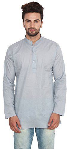 Fashion Cotton Short Mens Kurta India Clothing (Grey, L) ()