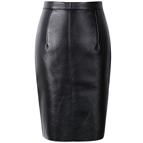 Dapengzhu NEW Sexy Faux Fur Leather Pu High Waist Women Pencil Skirts Pink Office Wrap Short Girls S08019 Black L (Zara Faux Leather Pencil Skirt)