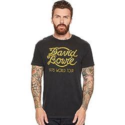 Original Retro Brand Unisex David Bowie World Tour Vintage Distressed Concert T-Shirt Vintage Black X-Large