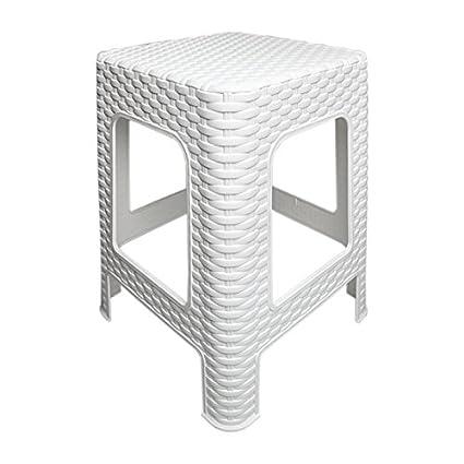 Hocker Rattan Badhocker Sitzhocker Fußhocker Stapelbar Kunststoff Campinghocker Tabure (Weiß)