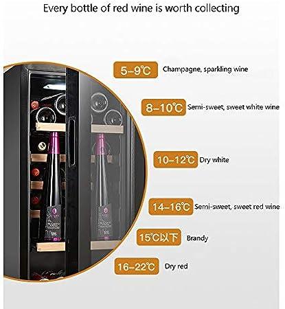 HYYQG Nevera para Vino, Refrigerador de Bebidas,Volumen 110L,Capacidad 16 Botellas, Doble Aislamiento, Bandejas extraíbles Iluminación LED, Diseño Estrecho, Congelador Negro, Black