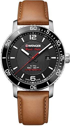(Wenger Men's Sport Stainless Steel Swiss-Quartz Watch with Leather Strap, Brown, 22 (Model: 01.1841.105))