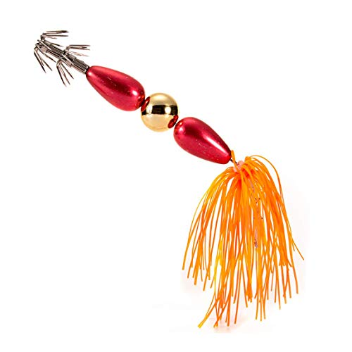 Coohole Fishing Topwater Lure 3D Eyes Hard Plastic Bait Trolling Lifelike Stainless Steel Squid Hooks Saltwater Fishing Lures Tackle Kits (Orange)
