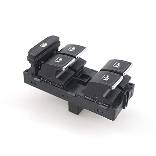 Triumilynn 5G0 959 857C Window Switch Car Power Window Panel Master Control for VW GOLF GTI MK7 2014-2017 with Chrome Decoration