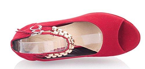 YE Damen Peep Toe High Heel Plateau Wedges Keilabsatz Riemchen Suede Nubukleder Pumps Schuhe mit Schnalle Rot
